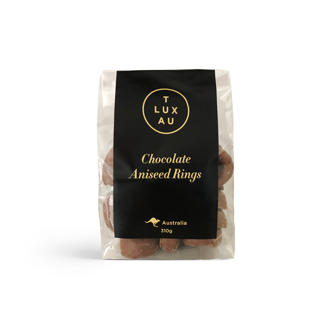 Large Clear Bags / Chocolate Aniseed Rings 300g - Black Series