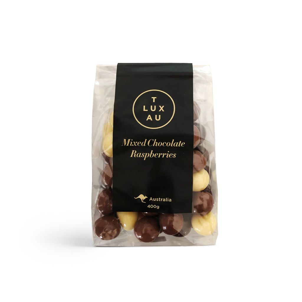 Large Clear Bags / Mixed Chocolate Raspberries 400g - Black Series