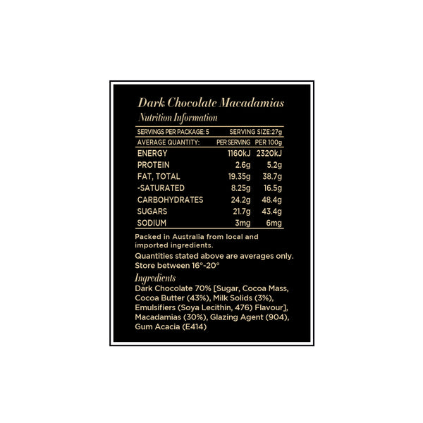Dark Chocolate Macadamias 135g