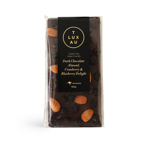 Dark Chocolate Almond, Cranberry & Blueberry Chocolate Block 100g (V) (GF)