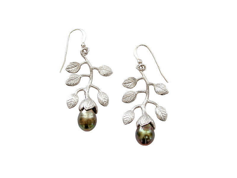 Sterling Branch & Pearl Earrings | Erica Zap Designs