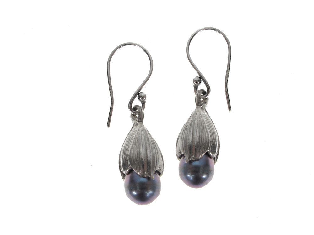 Sterling Bud & Pearl Earrings
