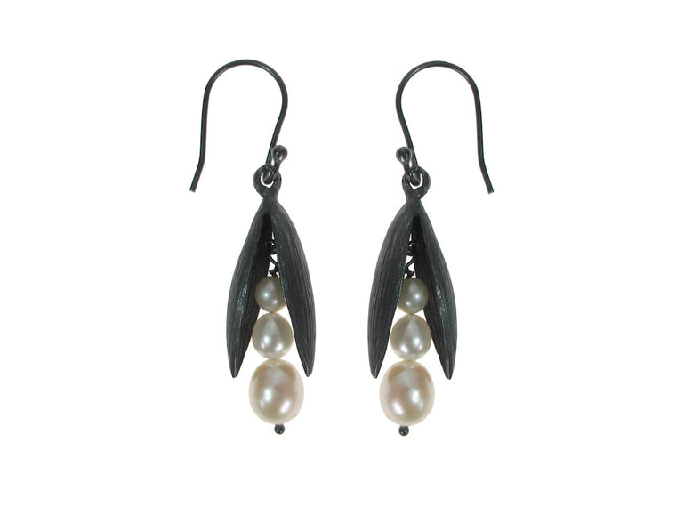 Pearls in Small Sterling Pod Earrings