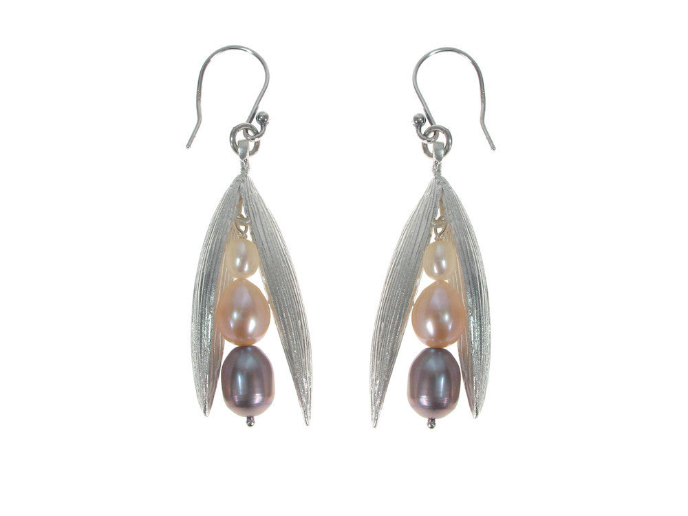 Pearls in Large Sterling Pod Earrings