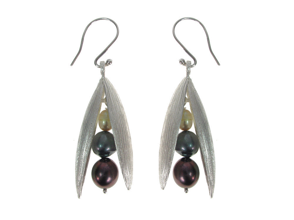 Pearls in Large Sterling Pod Earrings | Erica Zap Designs