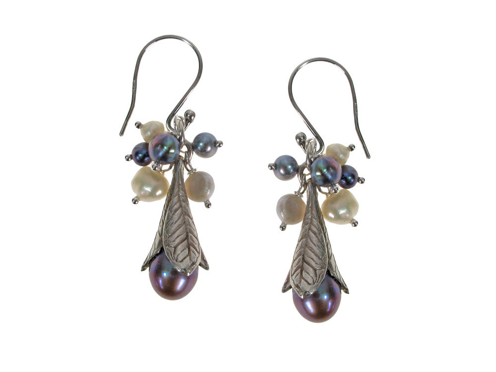 Pearls and Sterling Trumpet Leaf Earrings