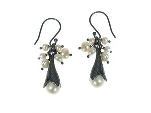 Pearls and Sterling Trumpet Leaf Earrings | Erica Zap Designs