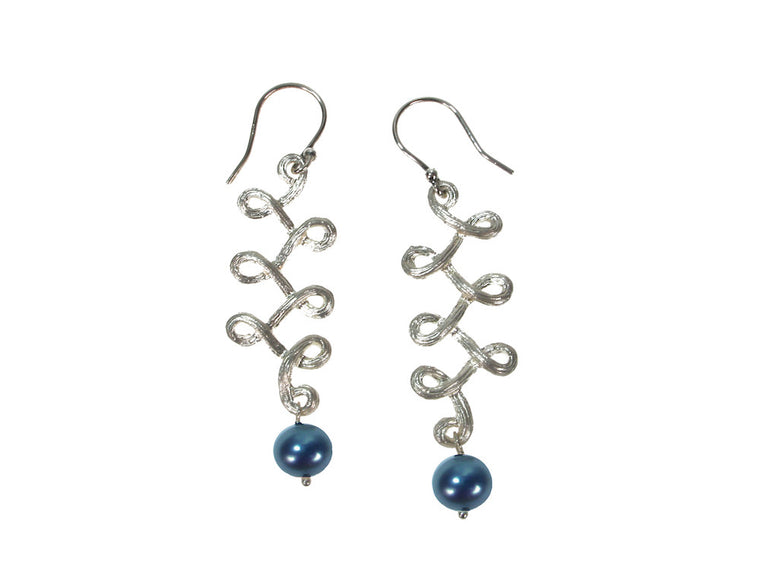 Swirling Sterling Vine & Pearl Drop Earrings