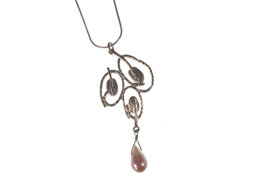 Sterling Leaf & Circles Pendant with Pearl Drop | Erica Zap Designs