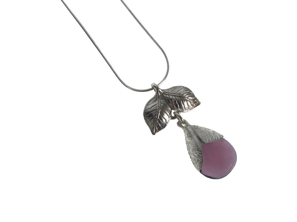 Sterling Leaf & Stone Pendant Necklace | Erica Zap Designs