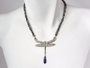 Dragonfly Pearl Necklace with Crystal Drop | Erica Zap Designs