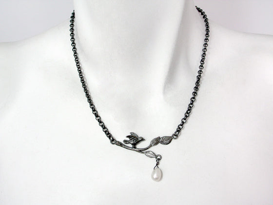 Bird On A Branch Oxidized Sterling Necklace with Pearl Drop | Erica Zap Designs