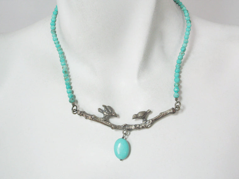 Turquoise Necklace with Sterling Birds on a Branch