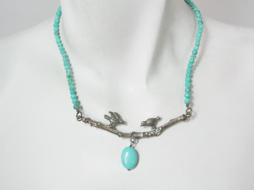 Turquoise Necklace with Sterling Birds on a Branch | Erica Zap Designs