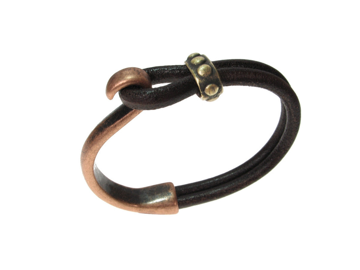 Cord Leather Bracelet | Lasso Hook & Beaded Slide | Erica Zap Designs