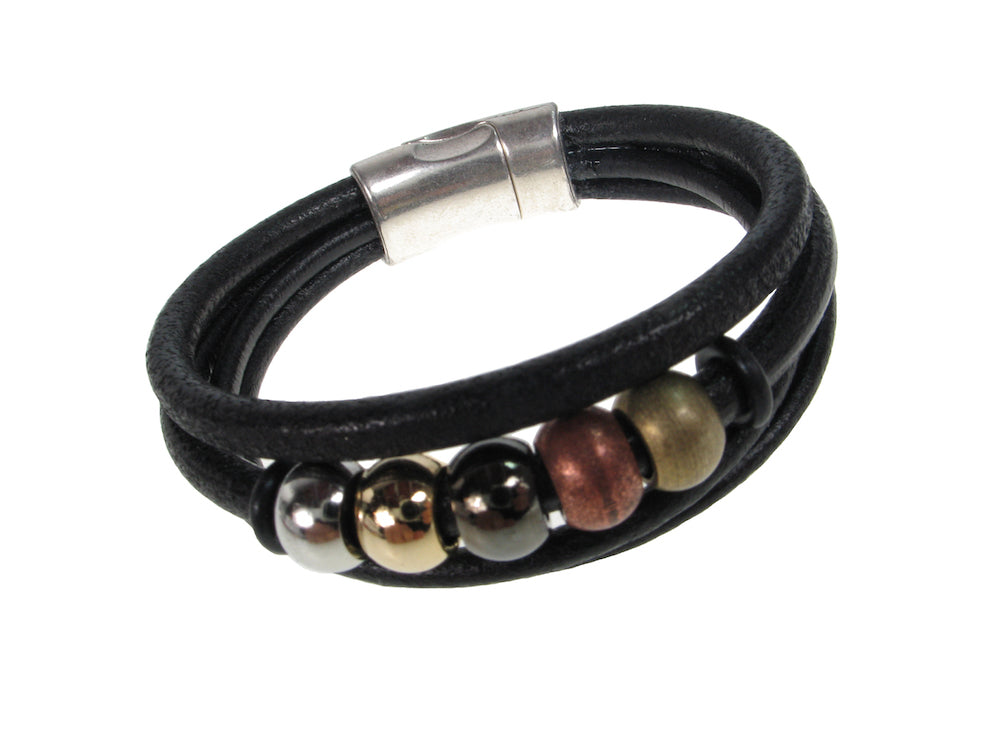 Cord Leather Bracelet | 3-Strand Beads & Magnetic Clasp | Erica Zap Designs