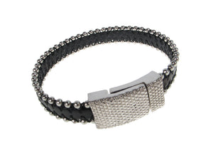 Men's Leather Bracelet | Single Beaded Strap with Magnetic Clasp | Erica Zap Designs