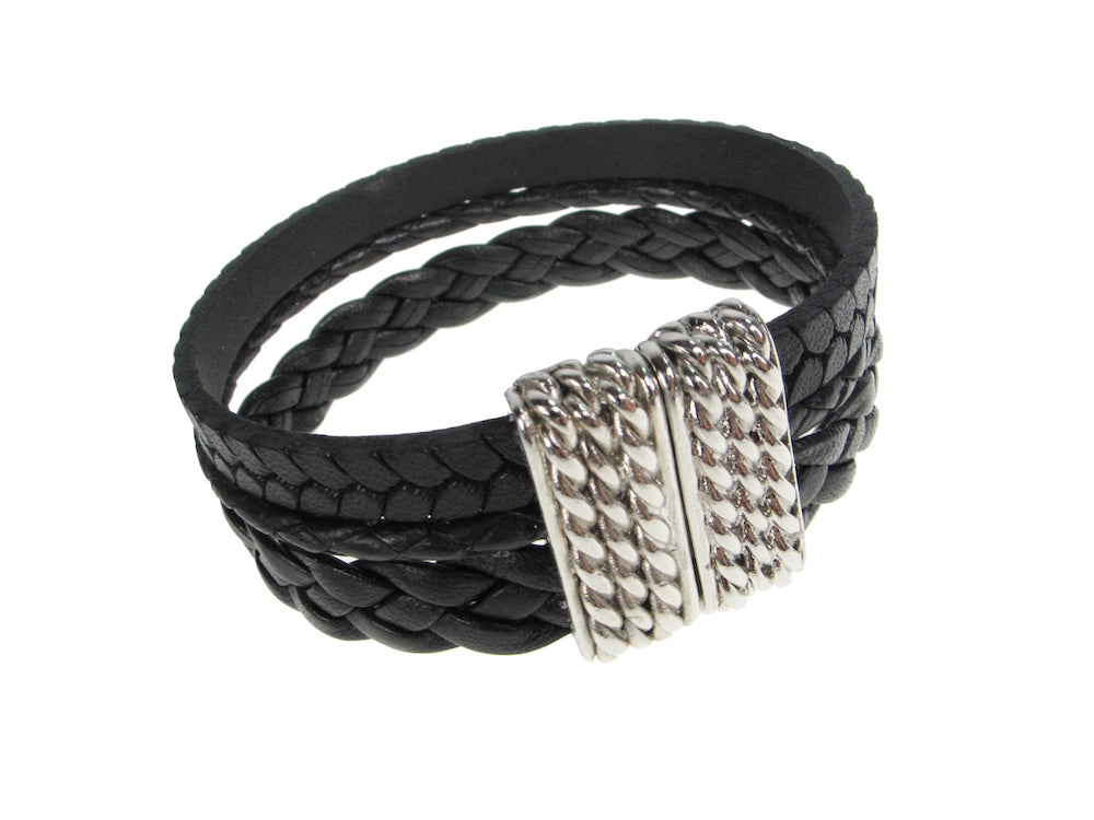 Braided Leather Bracelet | Triple Strand with Magnetic Clasp | Erica Zap Designs