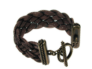 Braided Mesh Bracelet with Textured Toggle Clasp | Erica Zap Designs