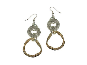 Mesh & Hammered Circle Drop Earrings