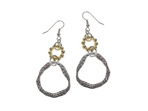 Beaded & Hammered Circle Drop Earrings
