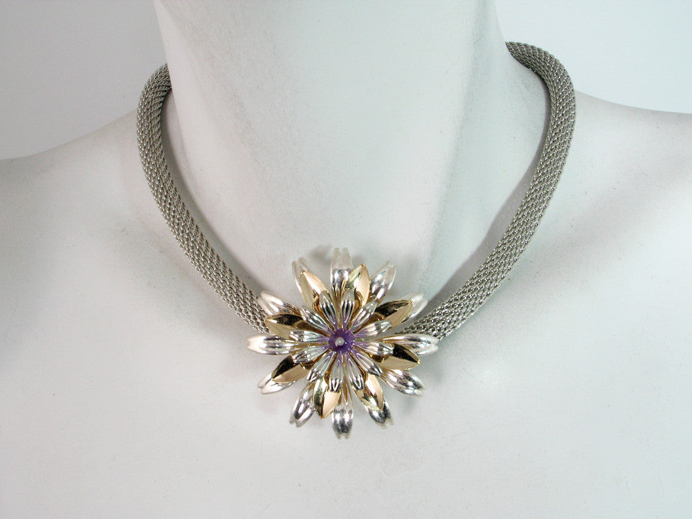Thick Rhodium Mesh Necklace with Single Flower | Erica Zap Designs