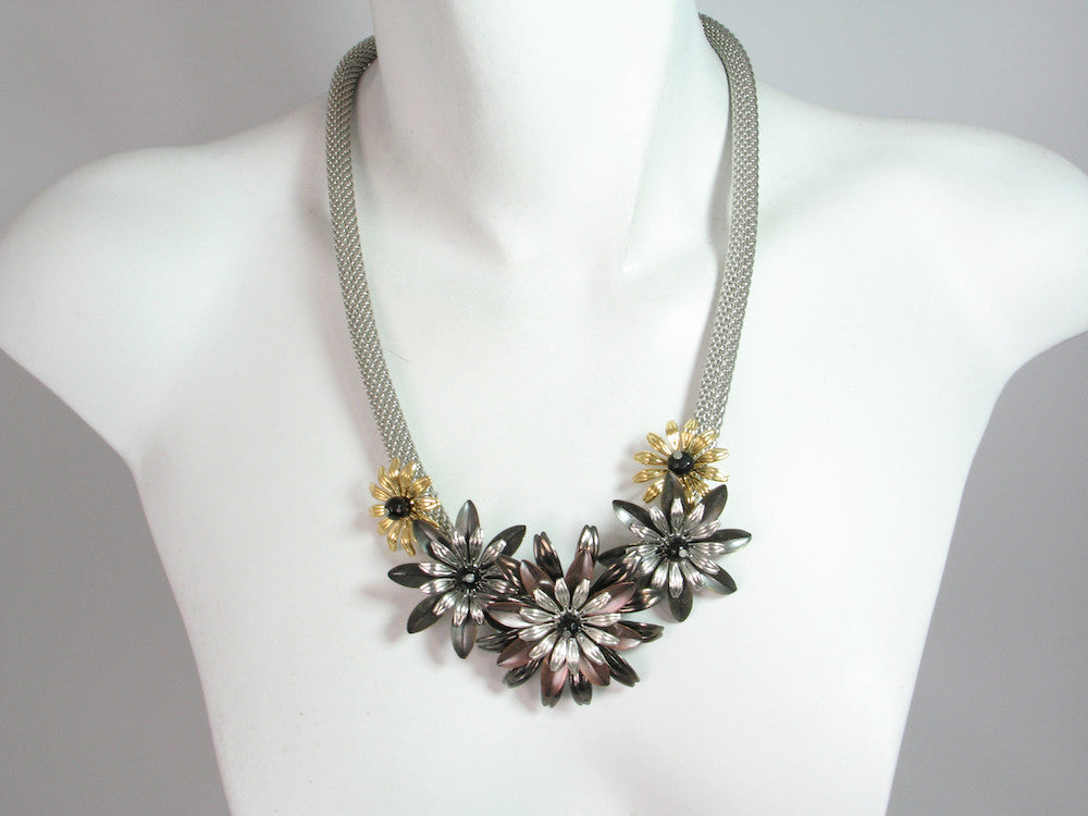 Thick Rhodium Mesh Necklace with Metal Flowers, 21"