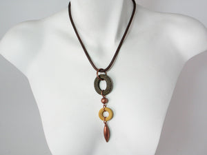 Mesh Necklace with Oval & Circle Pendant | Erica Zap Designs