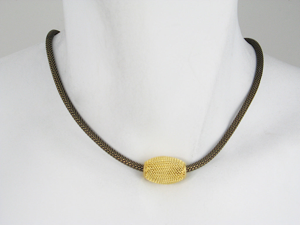 Thin Mesh Necklace with Floating Oval Mesh Bead | Erica Zap Designs