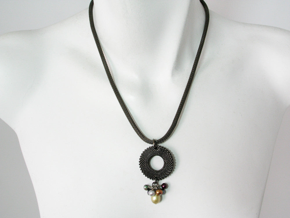 Mesh Necklace with Circle & Pearl Cluster Drop | Erica Zap Designs