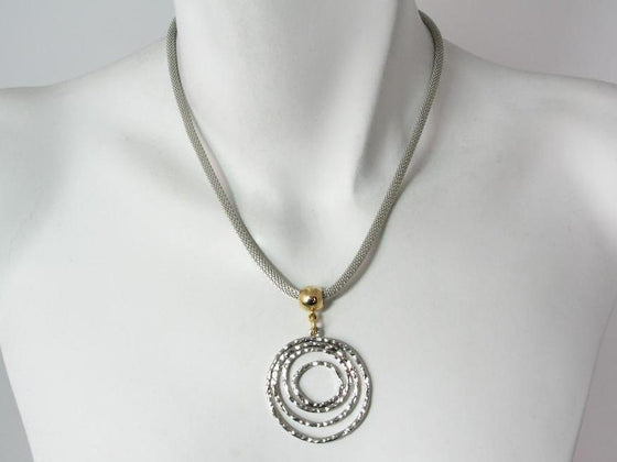 Mesh Necklace with Hammered Circles Drop | Erica Zap Designs