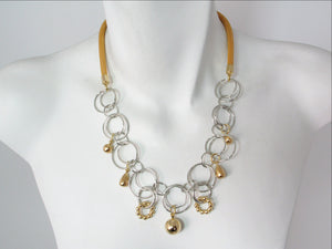 Mesh Necklace with Linked Circle Chain & Charms | Erica Zap Designs