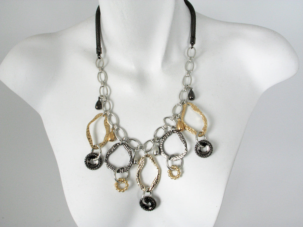 Mesh Chain Necklace with Hammered Ovals & Charms | Erica Zap Designs