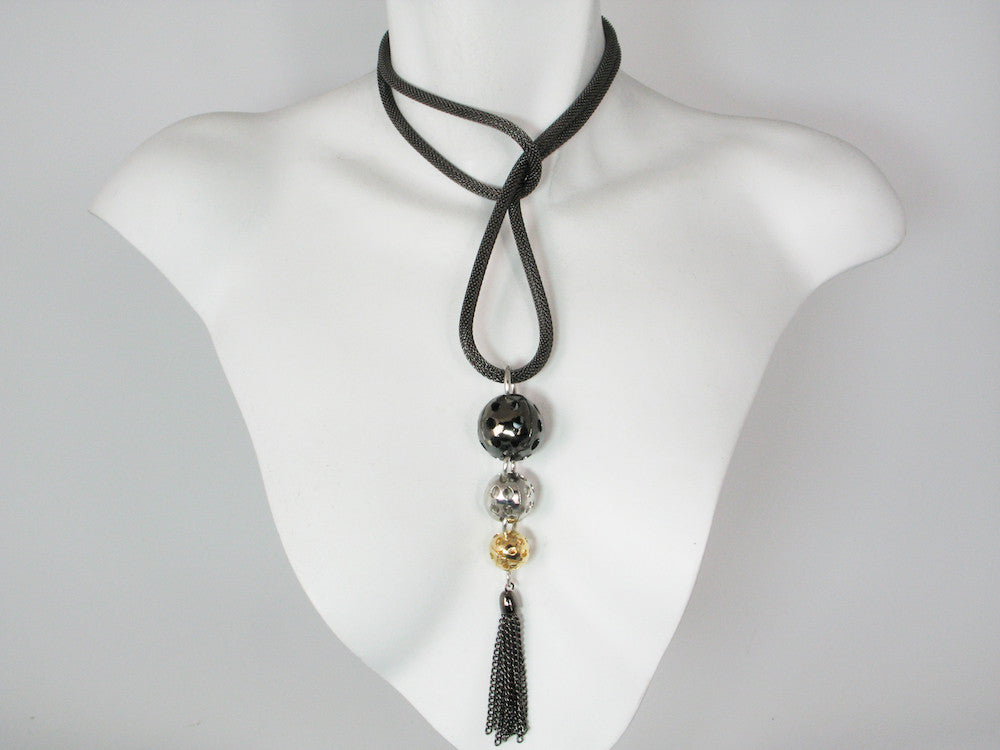 2-Way Mesh Necklace with Perforated Ball & Tassel Pendant | Erica Zap Designs