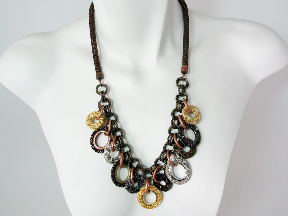 Mesh & Textured Chain Necklace with Mesh Circle Charms | Erica Zap Designs