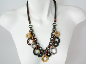 Mesh Necklace with Mesh Circles and Ovals
