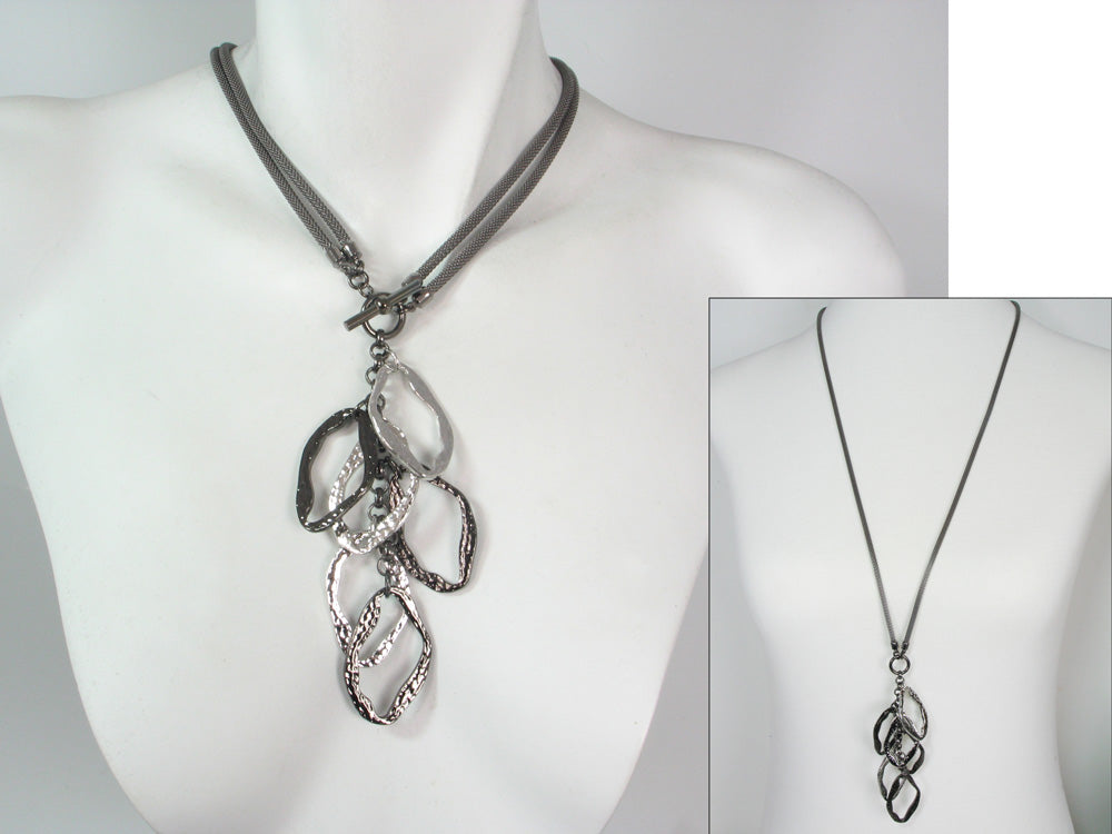2-Way Mesh & Hammered Ovaloid Drop Necklace | Erica Zap Designs