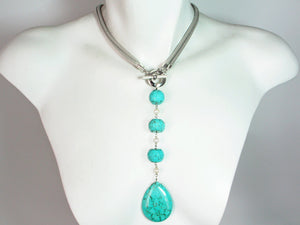 2-Way Mesh & Turquoise Drop Necklace | Erica Zap Designs
