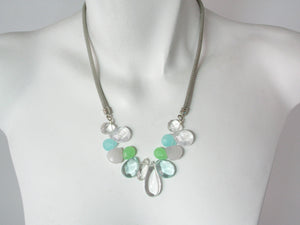 Rhodium Mesh Necklace with Mixed Stones | Erica Zap Designs
