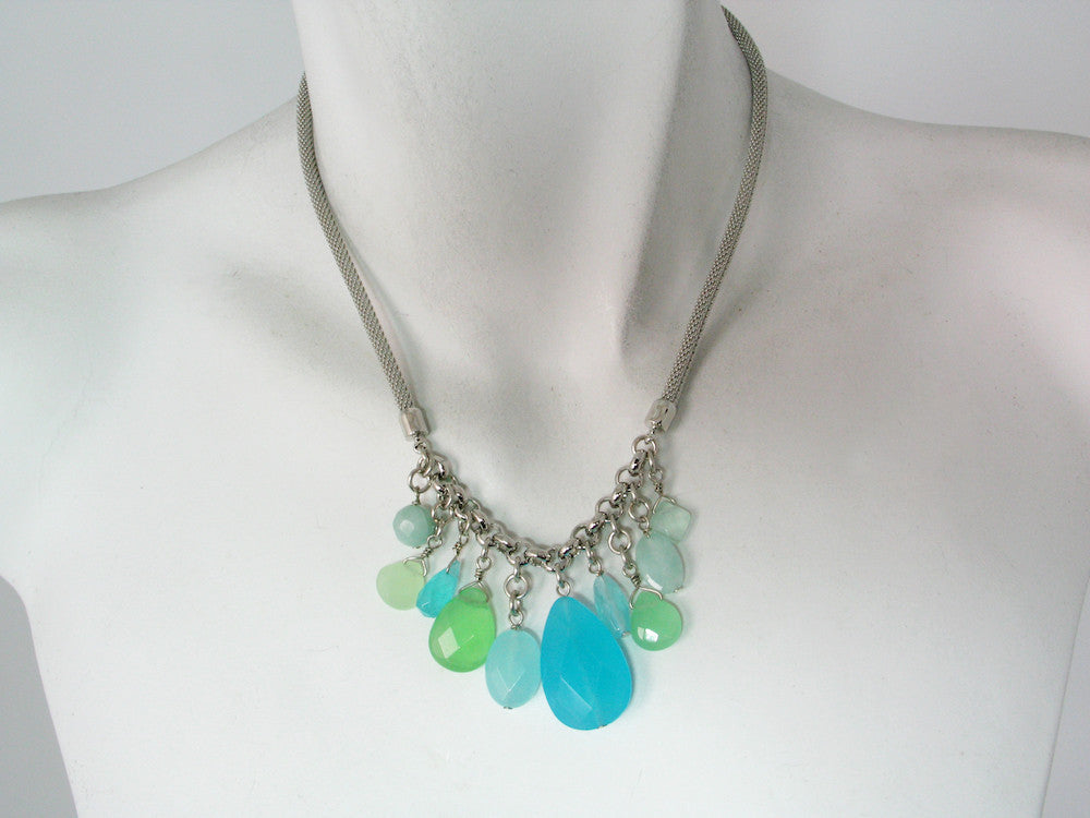 Rhodium Mesh Necklace with Blue Quartz Drops | Erica Zap Designs