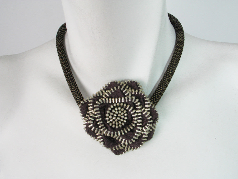 Zipper Flower Mesh Necklace | Erica Zap Designs