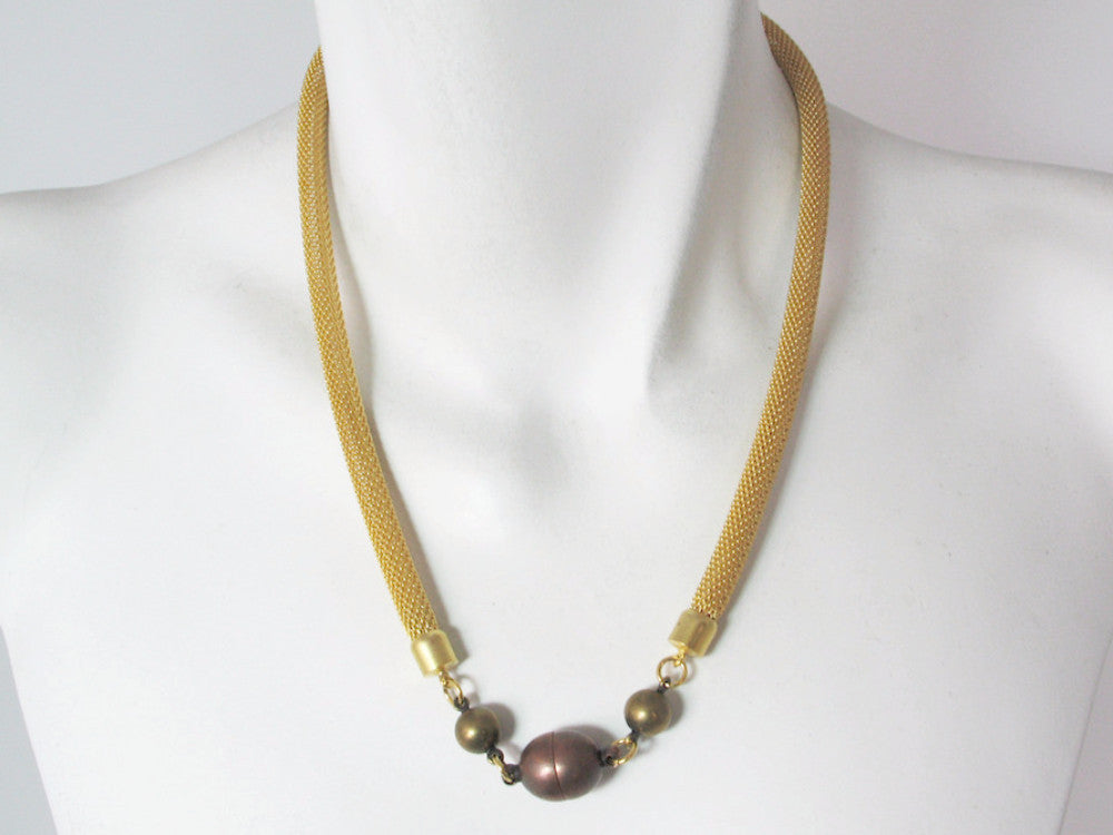 Mesh Necklace with Linked Metal Beads & Magnetic Ball Clasp | Erica Zap Designs