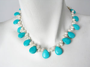 White Freshwater Pearl & Turquoise Necklace | Erica Zap Designs