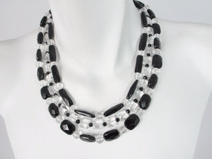 Onyx & Crystal 3-Strand Graduated Necklace | Erica Zap Designs