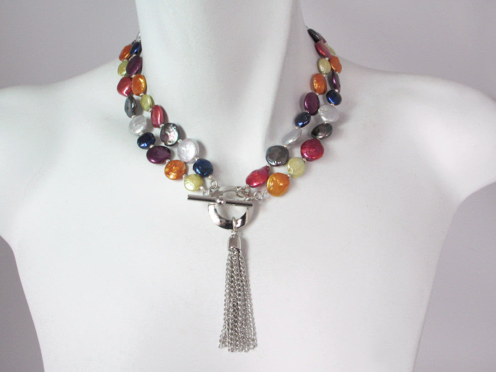 2-Strand Coin Pearl Necklace with Tassel Drop