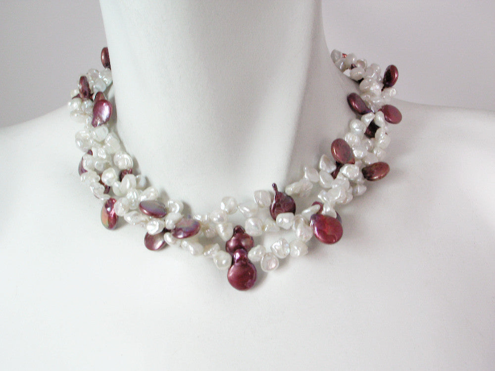 3-Strand Keshi & Coin Pearl Necklace | Erica Zap Designs