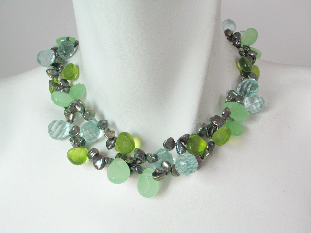 2-Strand Keshi Pearl & Stone Necklace | Erica Zap Designs