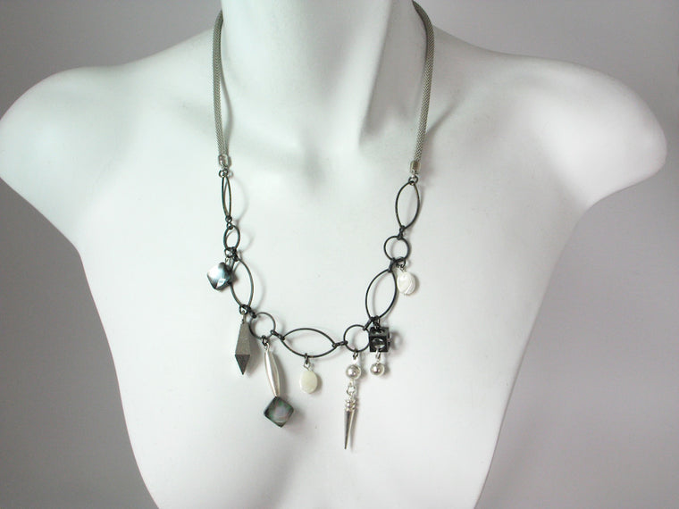 Mesh Necklace with Mother of Pearl & Geometric Charms