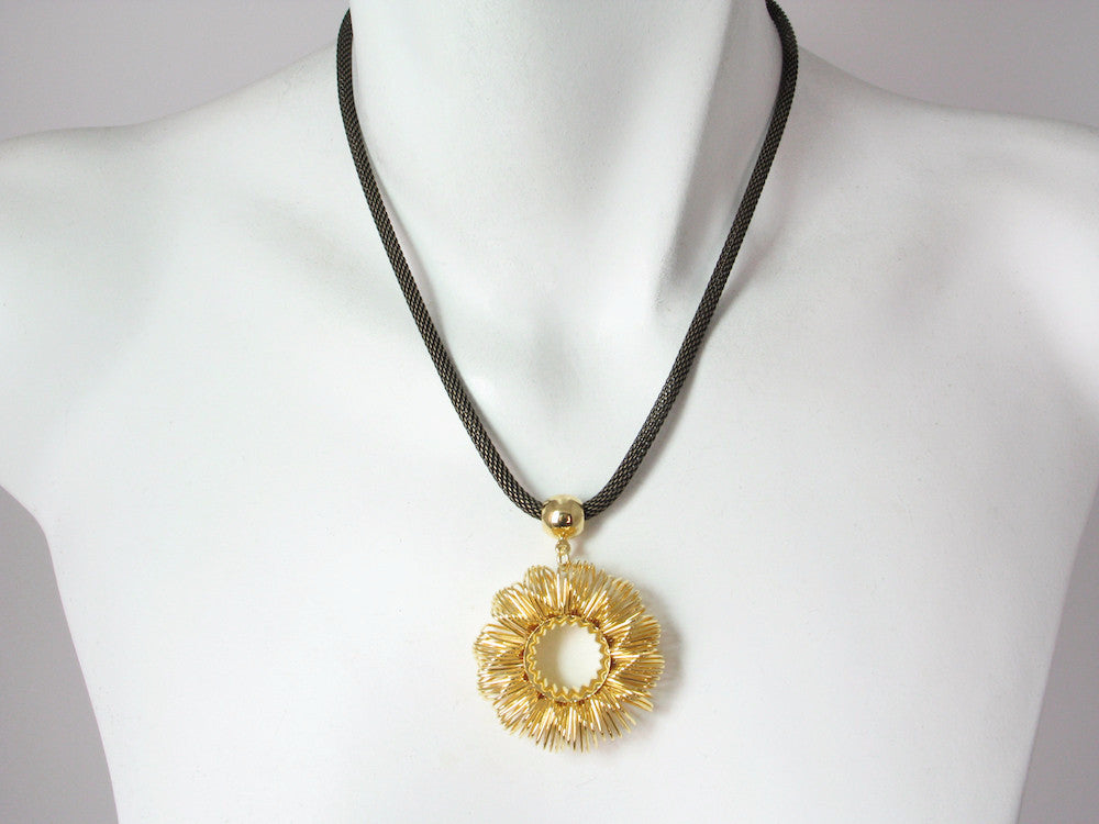 Mesh Necklace with Wire Circle Pendant | Erica Zap Designs