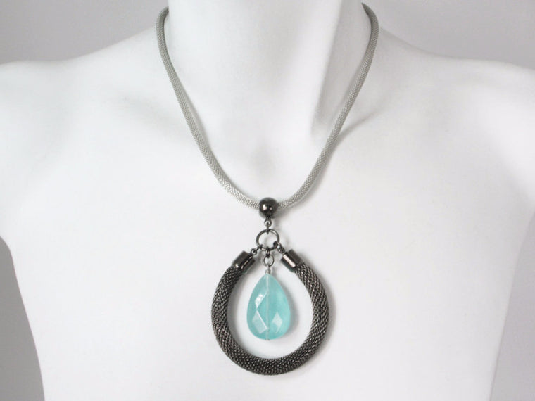 Mesh Necklace with Stone Circle Pendant | Erica Zap Designs